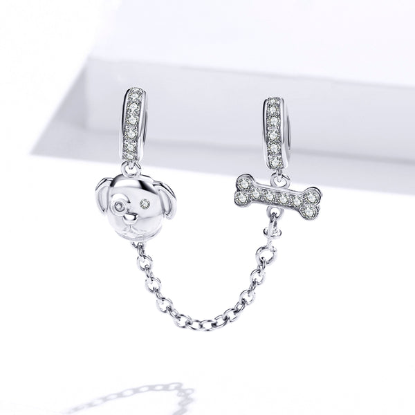 Sterling 925 silver charm the dog and bone bead pendant fits Pandora charm and European charm bracelet