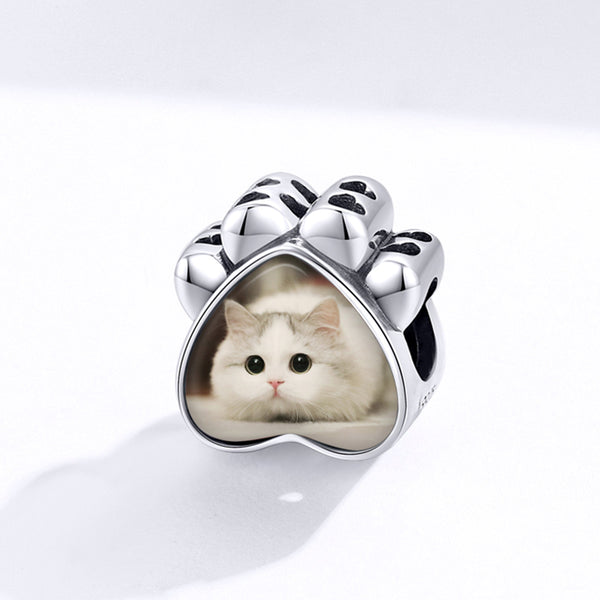 Sterling 925 silver charm the kitty paw bead pendant fits Pandora charm and European charm bracelet