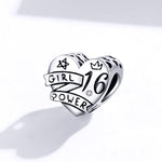 Sterling 925 silver charm the girl power bead pendant fits Pandora charm and European charm bracelet