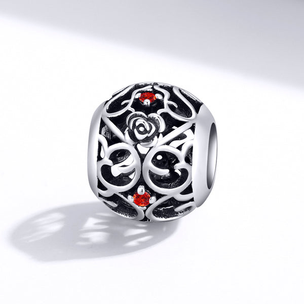 Sterling 925 silver charm the hollow floral circle bead pendant fits Pandora charm and European charm bracelet