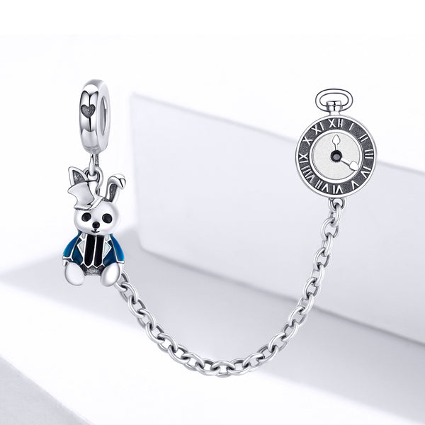 Sterling 925 silver charm the Teddy and clock bead pendant fits Pandora charm and European charm bracelet