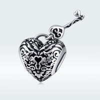 Sterling 925 silver charm the key and lock bead pendant fits Pandora charm and European charm bracelet
