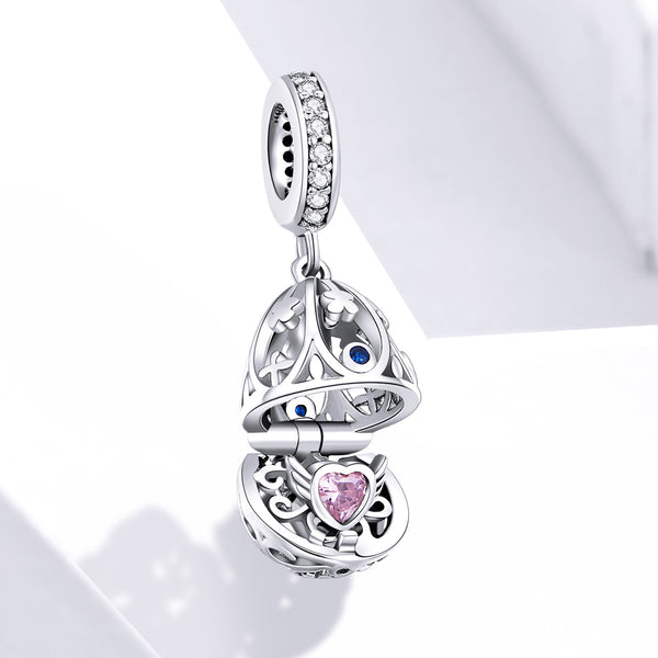 Sterling 925 silver charm the round box pendant fits Pandora charm and European charm bracelet