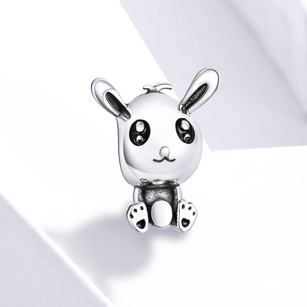 Sterling 925 silver charm The cute rabbit bead pendant fits Pandora charm and European charm bracelet