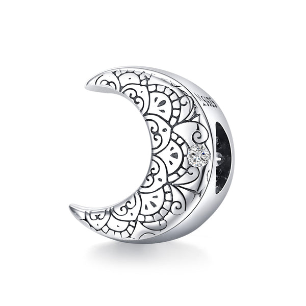 Sterling 925 silver charm the moon bead pendant fits Pandora charm and European charm bracelet