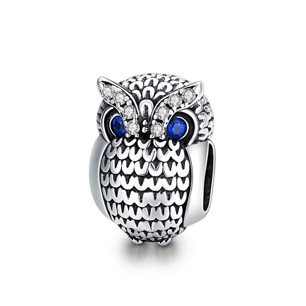 Sterling 925 silver charm the owl bead pendant fits Pandora charm and European charm bracelet