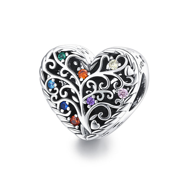 Sterling 925 silver charm the colorful tree bead pendant fits Pandora charm and European charm bracelet
