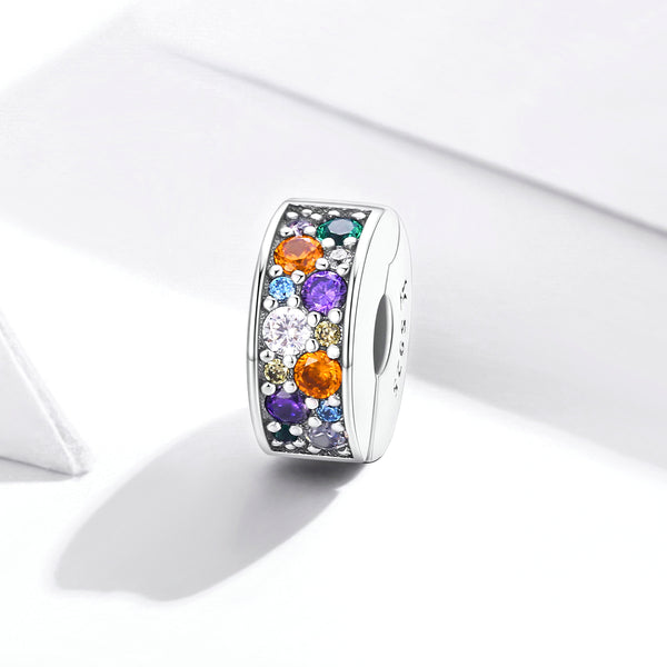 Sterling 925 silver charm the colorful circle bead pendant fits Pandora charm and European charm bracelet