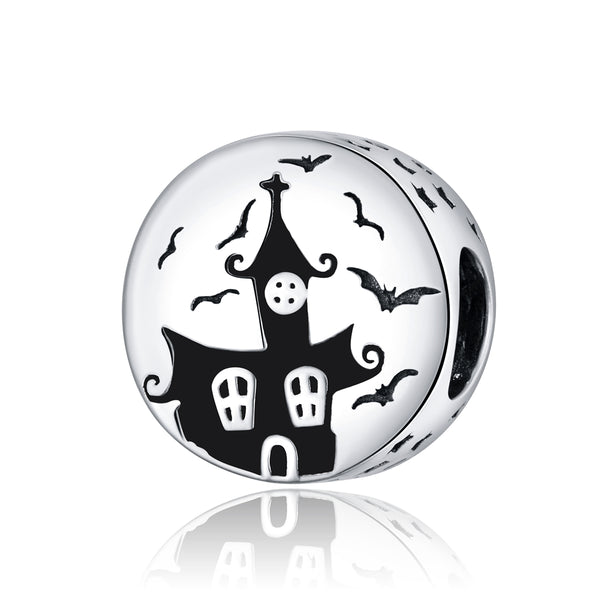 Sterling 925 silver charm the ghost castle bead pendant fits Pandora charm and European charm bracelet