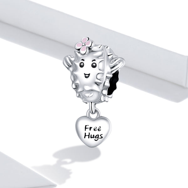 Sterling 925 silver charm the free hugs pendant fits Pandora charm and European charm bracelet