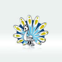Sterling 925 silver charm the peacock daisy bead pendant fits Pandora charm and European charm bracelet