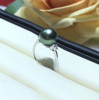 14K gold 7.5# 11.5mm black Tahitian pearl ring