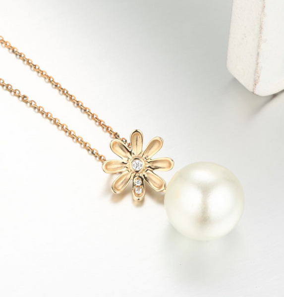 Real gold 14k solid gold pearl pendant setting floral shape , Yellow gold