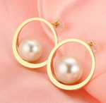 14k solid gold  real gold round circle shape earring findings, Yellow gold