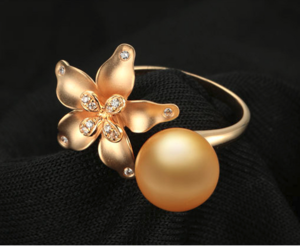 14k solid gold pearl ring holder adjustable golden floral CZ cubic zirconia, Yellow gold, Real gold