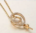 Real gold 14k solid gold pearl pendant setting CZ cubic zirconia , Yellow gold