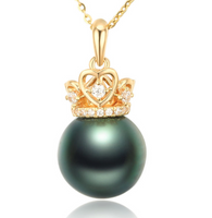 Real gold 14k solid gold pearl pendant setting the queen's crown CZ cubic zirconia , Yellow gold