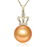 Real gold 14k solid gold pearl pendant setting CZ cubic zirconia the shining crown, Yellow gold