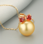 Real gold 14k solid gold pearl pendant setting CZ cubic zirconia red, Yellow gold