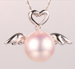 Real gold 14k solid gold pearl pendant setting CZ cubic zirconia the angel wing, Yellow gold