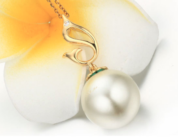Real gold 14k solid gold pearl pendant setting CZ cubic zirconia the dolphin, Yellow gold