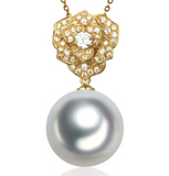 Real gold 14k solid gold pearl pendant setting CZ cubic zirconia the luxury, Yellow gold