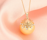 Real gold 14k solid gold pearl pendant setting CZ cubic zirconia fashion design, Yellow gold