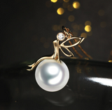Real gold 14k solid gold pearl pendant setting angel lady CZ cubic zirconia , Yellow gold