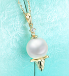 Real gold 14k solid gold pearl pendant setting the ice cream CZ cubic zirconia , Yellow gold