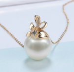 Real gold 14k solid gold pearl pendant setting the tulip floral CZ cubic zirconia , Yellow gold