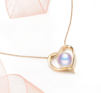 Real gold 14k solid gold pearl pendant setting the heart shape CZ cubic zirconia , Yellow gold