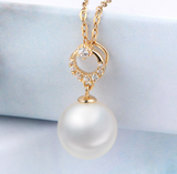 Real gold 14k solid gold pearl pendant setting the circle shape CZ cubic zirconia , Yellow gold