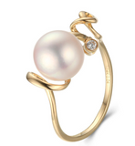 14k solid gold pearl ring holder adjustable golden the lines CZ cubic zirconia, Yellow gold, Real gold