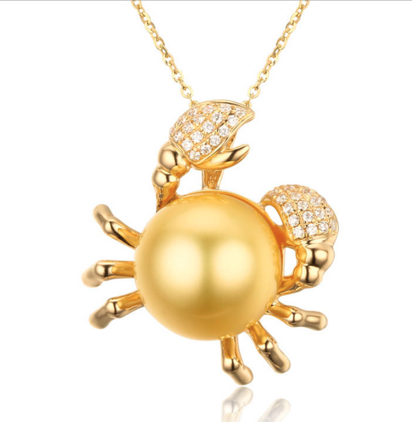 Real gold 14k solid gold pearl pendant setting the crab CZ cubic zirconia , Yellow gold