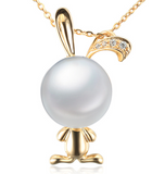 Real gold 14k solid gold pearl pendant setting the bunny CZ cubic zirconia , Yellow gold
