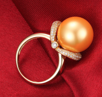 14k solid gold pearl ring holder adjustable golden the shining star CZ cubic zirconia, Yellow gold, Real gold