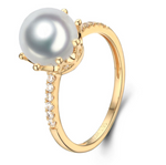 14k solid gold pearl ring holder adjustable golden the crown CZ cubic zirconia, Yellow gold, Real gold