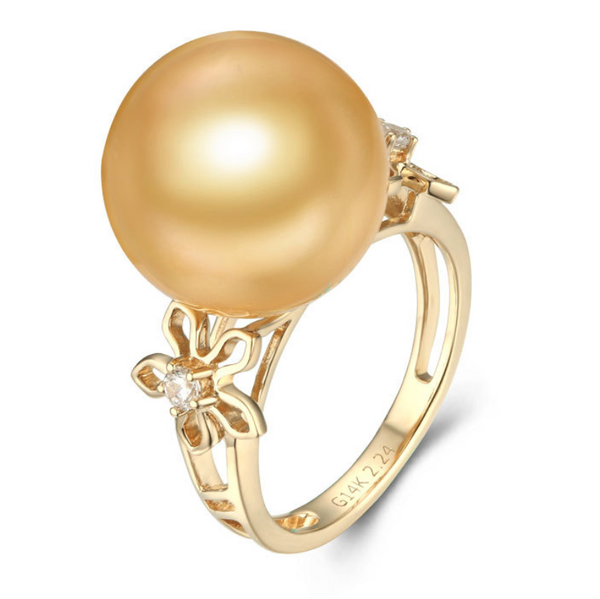 14k solid gold pearl ring holder adjustable golden the twin flower CZ cubic zirconia, Yellow gold, Real gold