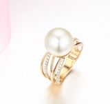14k solid gold pearl ring holder adjustable golden the wide CZ cubic zirconia, Yellow gold, Real gold