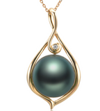 Real gold 14k solid gold pearl pendant setting the waterdrop CZ cubic zirconia , Yellow gold