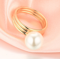 14k solid gold pearl ring holder adjustable golden the ribbon, Yellow gold, Real gold