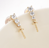 14k solid gold  real gold CZ cubic zirconia earring findings, Yellow gold