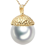 14k solid gold pearl pendant setting CZ cubic zirconia the lead, Yellow gold Real gold