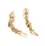 14k solid gold  real gold CZ cubic zirconia earring findings fashion, Yellow gold