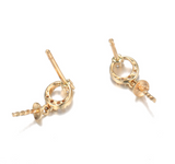 14k solid gold  real gold CZ cubic zirconia earring findings circle, Yellow gold