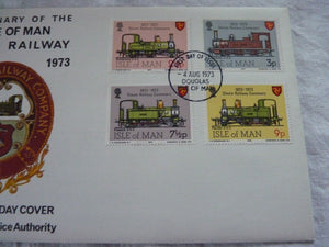 Enveloppe ferroviaire 1er jour Centenary of the isle of man Steam Railway