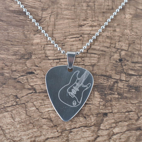 Guitar Part Picks Silver Necklace Guitar Necklace