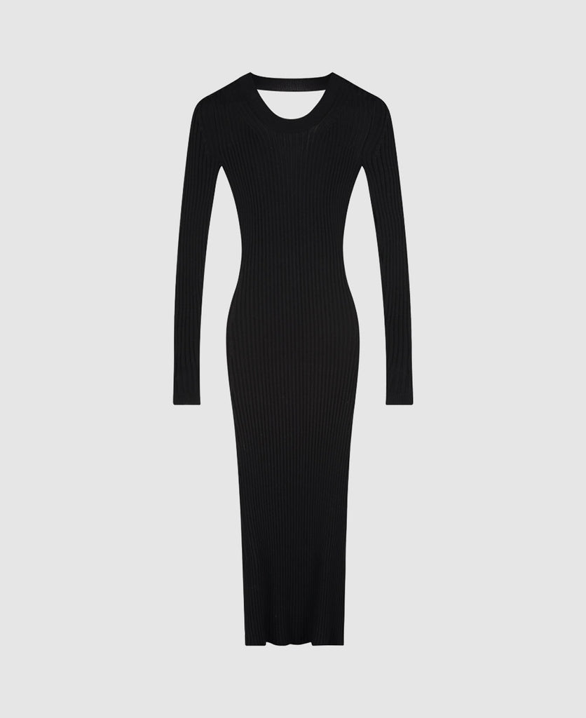 Edition 3 - 0016 open curved back rib knit dress
