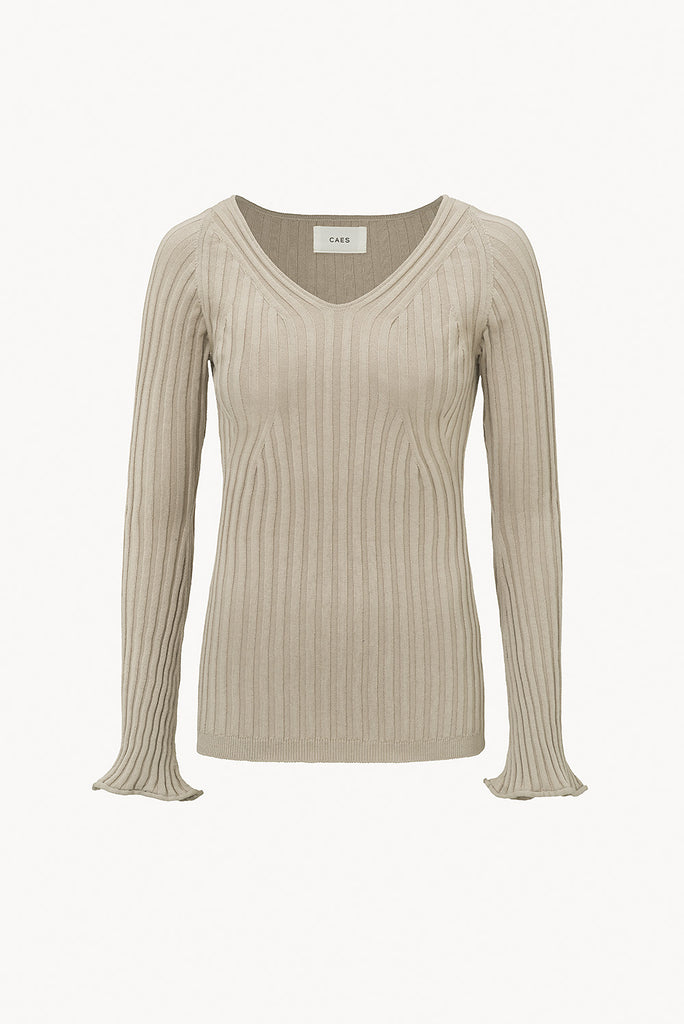 CAES  - 0009 ribbed-knit sweater in organic cotton - front