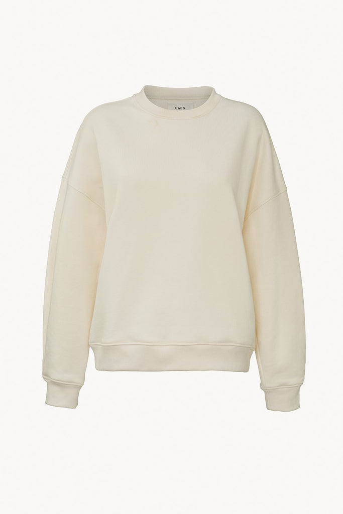 Organic sweater with pleated detail offwhite front